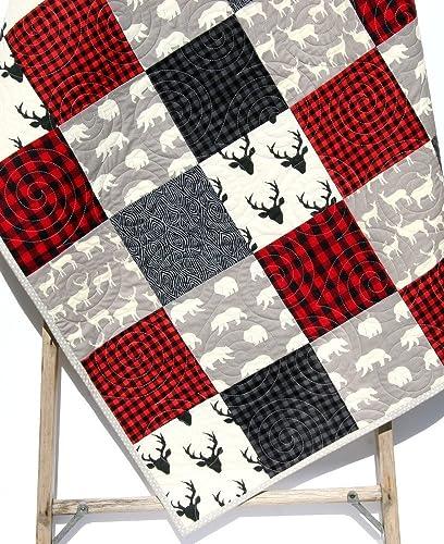 Lumberjack Baby Quilt Baby Boy Crib Bedding Minky Baby Blanket Rustic Baby Quilt Woodland Red Black Grey Gray Moose Deer Bear Plaid