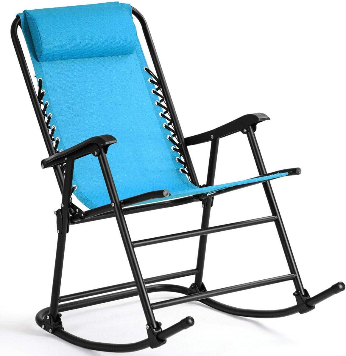 Folding Zero Gravity Rocking Chair Rocker Armrest Comfortable Headrest Glider Porch Seat Backyard Patio Lawn Deck Outdoor Garden Pool Side Furniture Solid Steel Construction Ergonomic Design