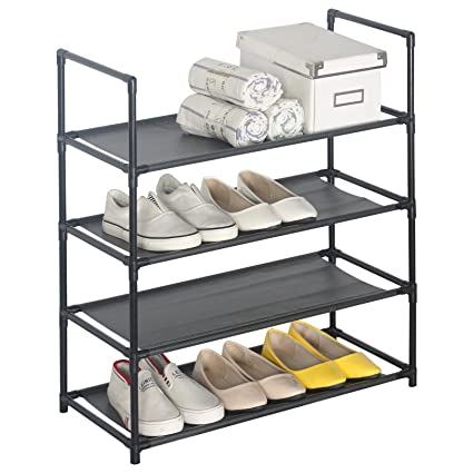 Home Furniture 4-tiers 12 Pairs Shoe Rack Organizer Shoe Tower Shelf Storage Organizer Stand Cabinet Entryway Easy To Assemble