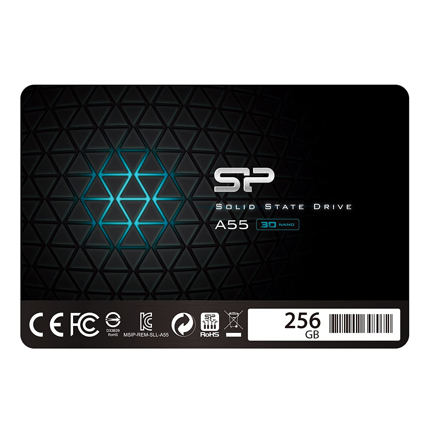 Silicon Power 256GB SSD 3D NAND with R/W Up to 550/450MB/s A55 SLC Cache Performance Boost SATA III 2.5' 7mm (0.28') Internal Solid State Drive (SP256GBSS3A55S25)