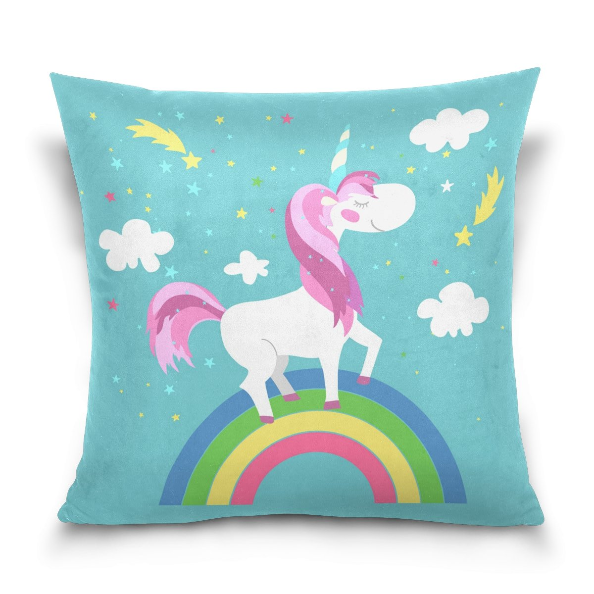 ALAZA Colorful Rainbow Cute Unicorn Cotton Pillowcase 16 X 16 Inches Twin Sides, Cartoon Animal Unicorn Pillow Case Sham Cover Protector Decorative for Home Hotel Couch Ded