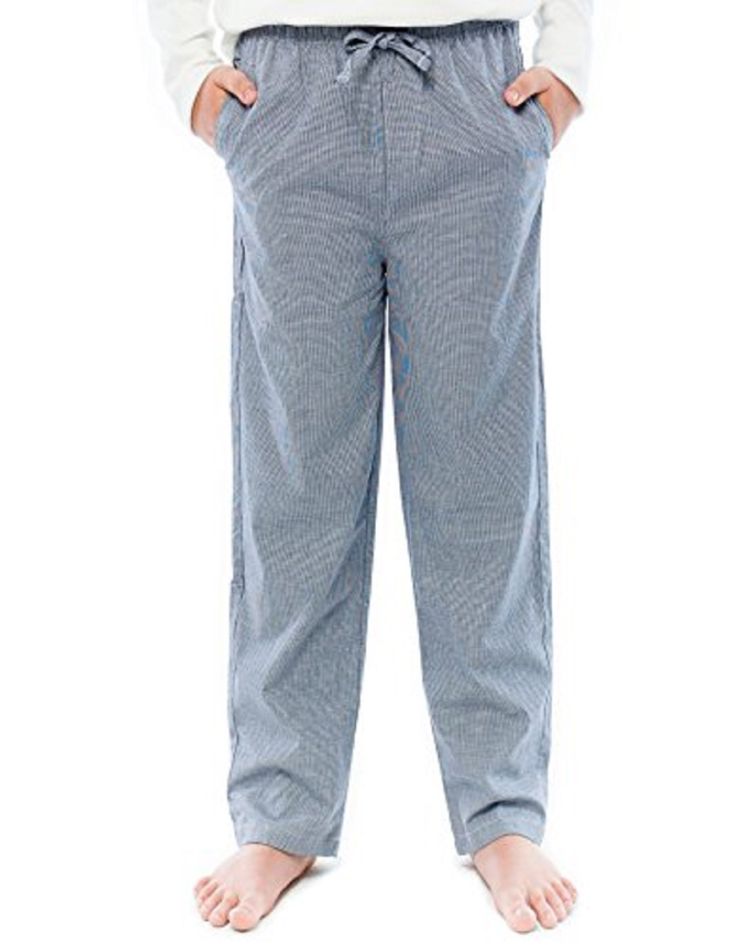 TINFL Boys Plaid Check Soft 100% Cotton Lounge Pants BP-63-Lightnavy-YM