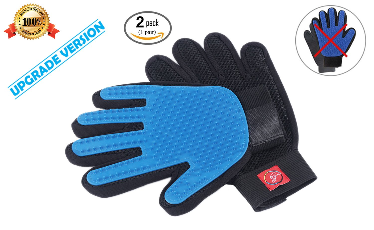 [UPGRADED VERSION]-Deshedding Glove For Dogs, Cats And Pets With Fur, Hair. Amazing,Gentle Pet Hair Remover. Short-Long Hair Grooming Deshedder Tool Kit Unlike Other Brush & Gloves