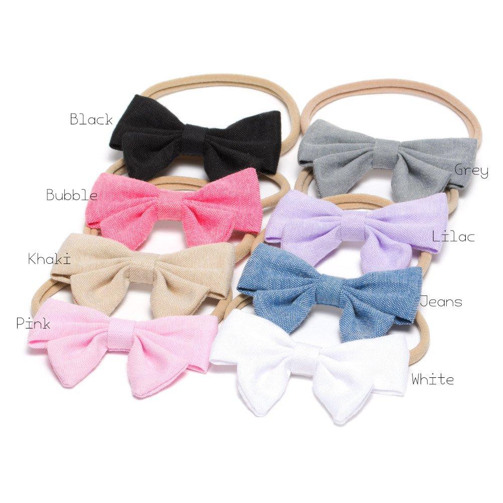 2x Mini Denim Bow //Baby Girl Hair Clip  Toddler Denim Fabric Bow
