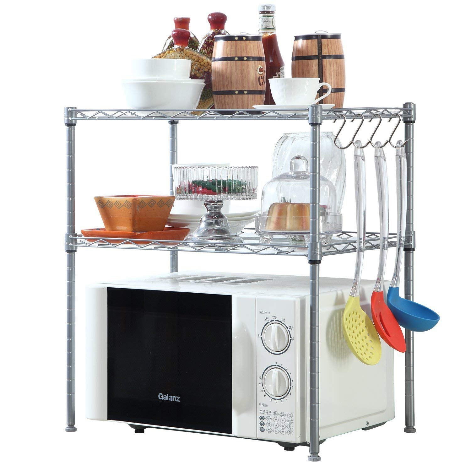 HOMFA Kitchen Microwave Oven Rack Shelving Unit,2-Tier Adjustable Stainless Steel Storage Shelf (Renewed)