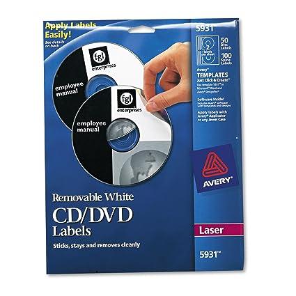 Avery 5931 tóner CD/DVD etiquetas, Mate Blanco, 50/unidades ...