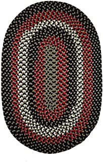product image for Rhody Rug Mission Hill (7' x 9') Multicolored Indoor/Outdoor Reversible Oval Braided Rug Black Multi
