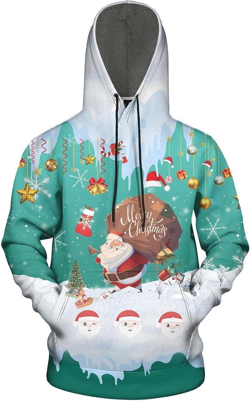 Christmas Cats Red Animales Tree Mens Hoodies Novelty Kangaroo Pocket Sweatshirts Stretchable Pullovers