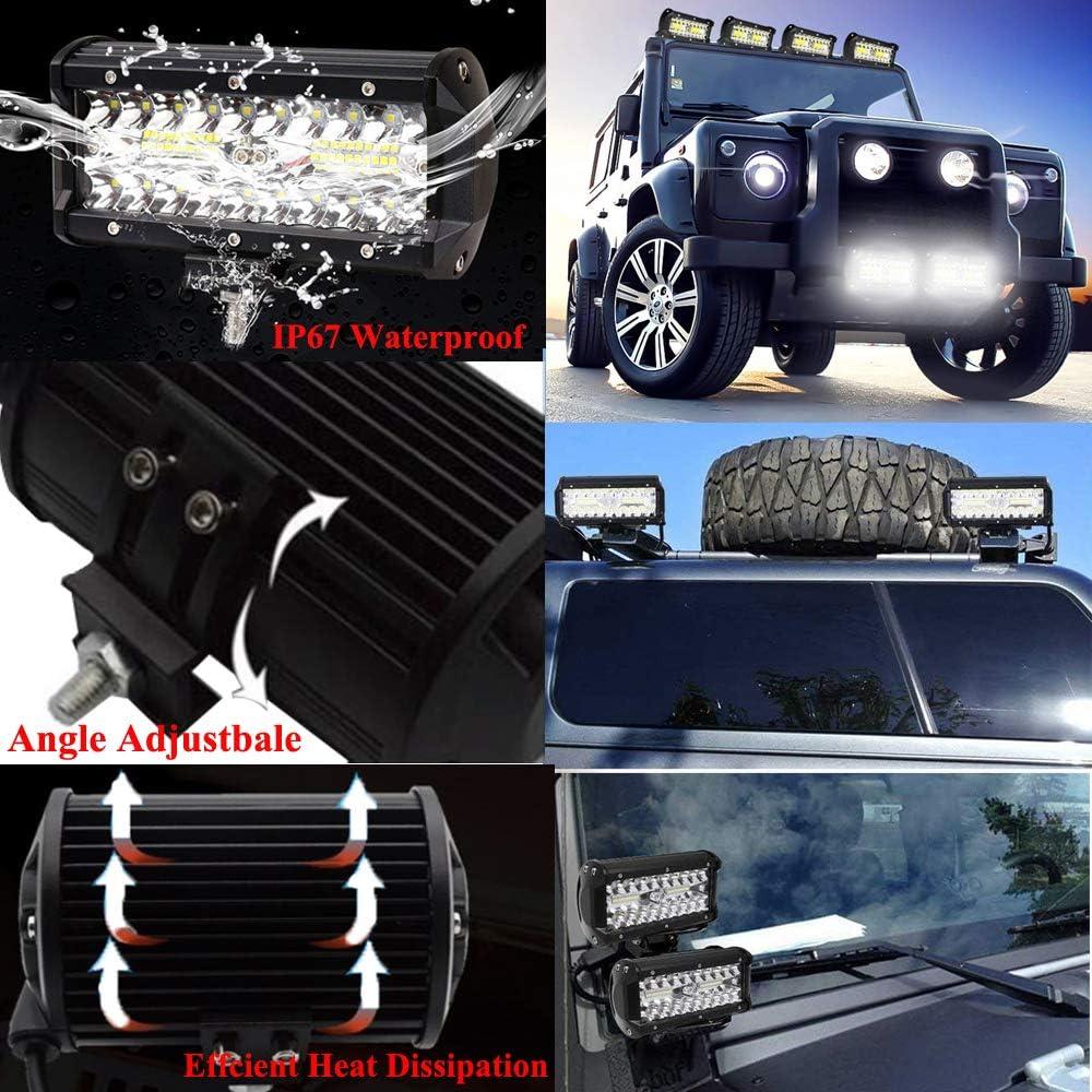 Leetop 2X Faro da Lavoro 72W Faro da Lavoro Impermeabile IP67 Barra Luminosa LED per Off Road Moto 4WD SUV ATV UTV Camion