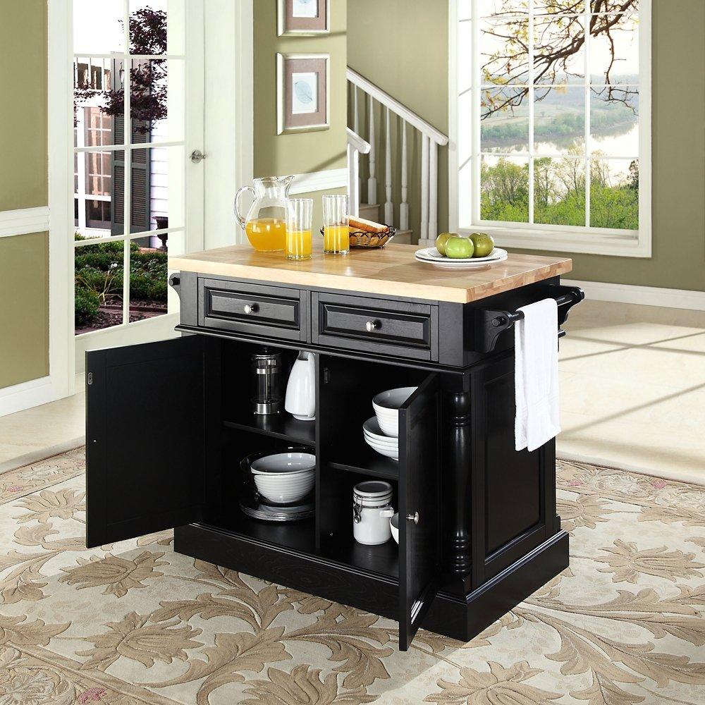 Amazon.com   Crosley Furniture Kitchen Island With Butcher Block Top    Black   Kitchen Islands U0026 Carts