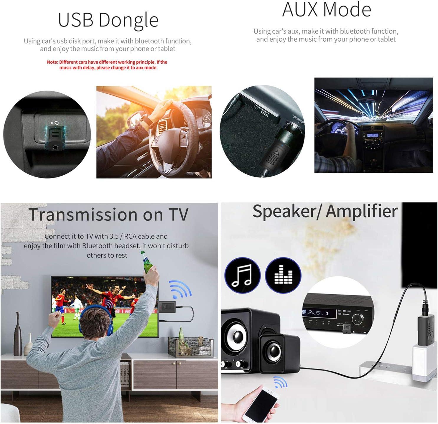 GeekerChip Deux en Un Bluetooth Adaptateur 5.0 Transmetteur Audio,avec c/âble Audio num/érique 3,5mm pour PC//Maison//Casques//T/él/éviseur//Voiture Noir