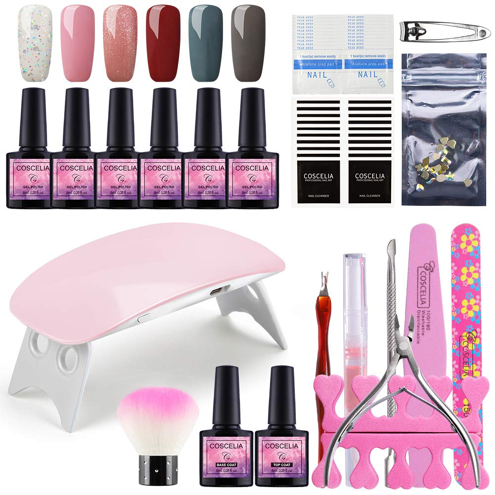 Fashion Zone Gel Nail Polish Starter Kit with 6W LED Lamp Base Top Coat, 6 Colors Gel Polish, Manicure Tools, Home Gel Nail Polish Kit by Fashion Zone
