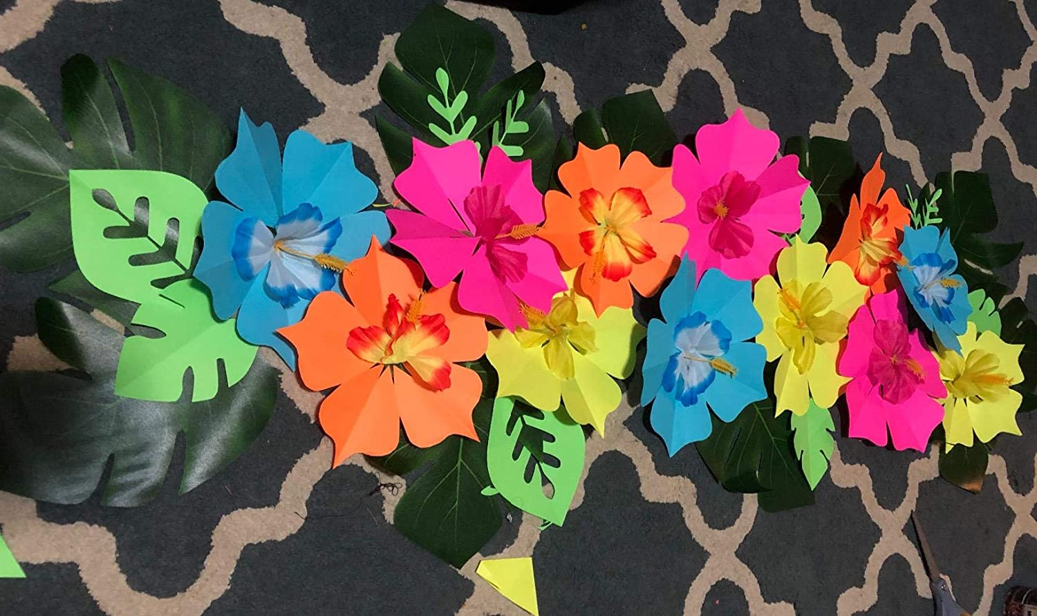 54pcs Artificial Tropical Palm Leaves and Silk Hibiscus Flowers for Tropical Party Decorations Hawaiian Party Decorations Supplies,Jungle Party Decorations Luau Party Decorations Table Decorations