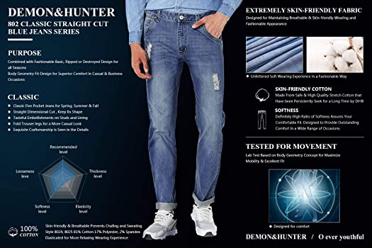 Amazon.com: Demon&Hunter 802 Series - Pantalones vaqueros ...