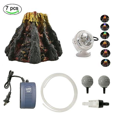 Yuxier - Kit de Adorno de volcán para Acuario con 7 focos LED de Color para