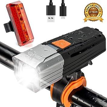 BIGO Luces Bicicleta Delantera y Trasera Recargable USB LED Luz ...