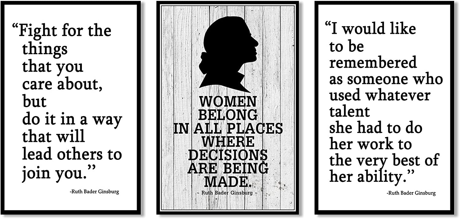3pcs Notorious RBG Poster Ruth Bader Ginsburg Feminist Canvas Wall Art Prints Unframed Inspirational Gifts for Women Lawyers Judges Home Decor 8x12 Inches