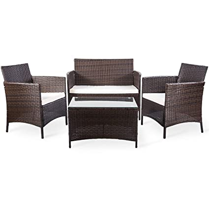 Amazon.com: Merax 4 pcs conjunto de muebles de patio al aire ...