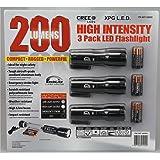 Techlite Lumen Master 200 Lumens High-Intensity CREE XPG L.E.D. Tactical Flashlight, 3 Pack