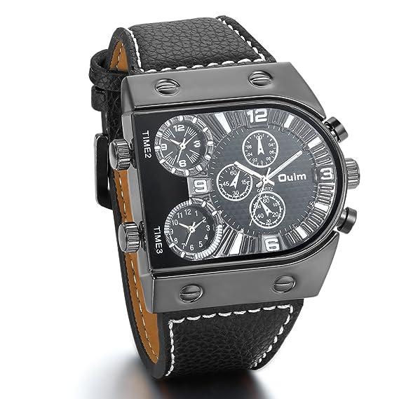 JewelryWe Relojes de Hombre Grande Reloj Deportivo Militar, Reloj de Pulsera Cuarzo de Cuero Negro Tiempo Dual, Cool Llamativo Negro: Amazon.es: Relojes