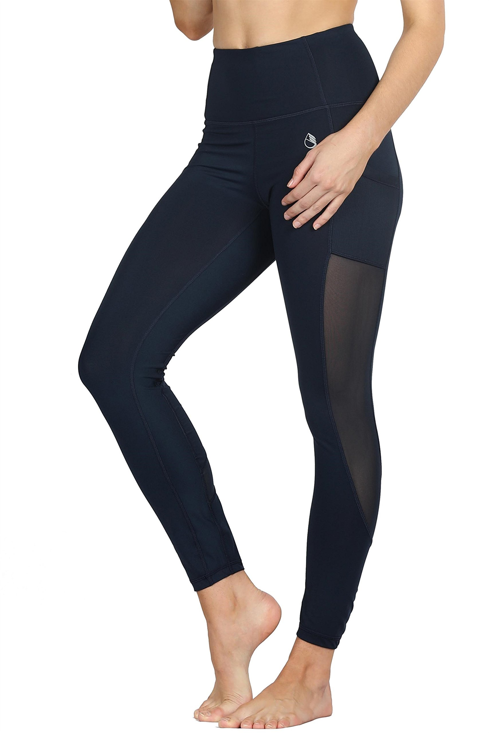 icyzone Tummy Control Slimming Shaping High Waist Yoga Tights Leggings with Mesh (M, Blueberry)