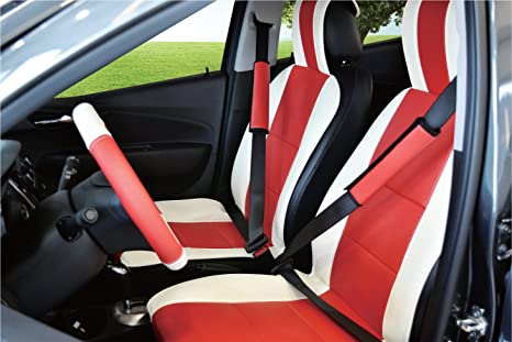 Amazon Com Unnie Universal Artificial Leather White Red Front Seat