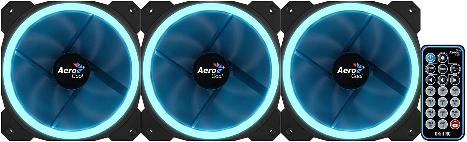 /Black Aerocool Orbit RC/ /Pack of 3/Fans for PC with RGB Lighting and Remote/
