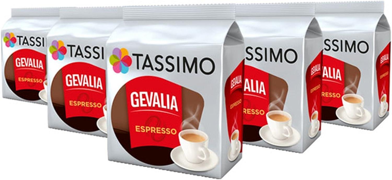 TASSIMO Gevalia Espresso Café Cápsulas de Café (Paquete de 5, 80 ...