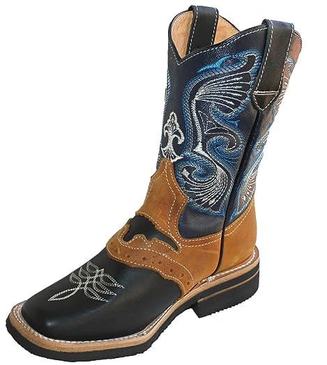 Men's Genuine Cow Hide Leather Cowboy Boots Square Toe boots Black/Tan_10.5