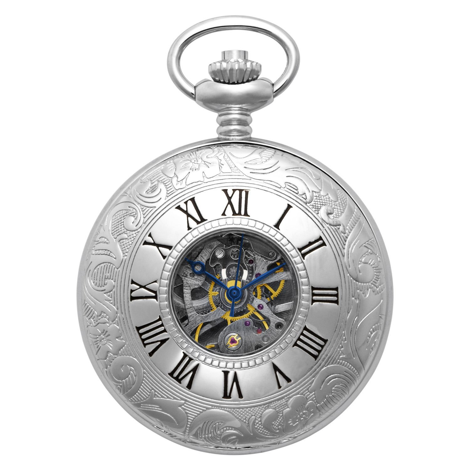 Gotham Men's Silver-Tone Mechanical Pocket Watch with Desktop Stand # GWC14040S-ST
