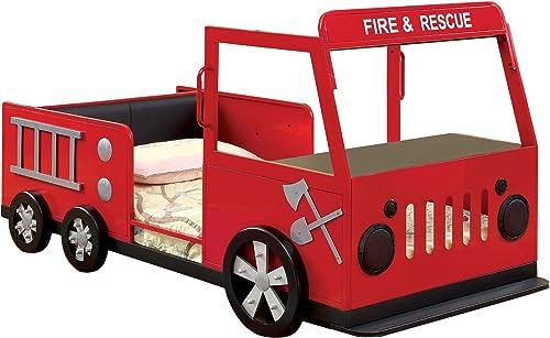 Furniture of America Pepe Bed, Red Black