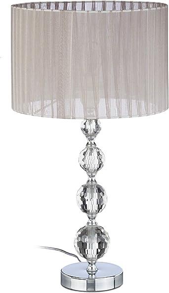 Relaxdays 10022849 Lampe de Chevet Abat Jour Tissu Voile Boules Verre Cristal HxlxP: 53x29,5x29,5 cm, ClaireArgent, 40 W, 29.5 x 29.5 x 41 cm