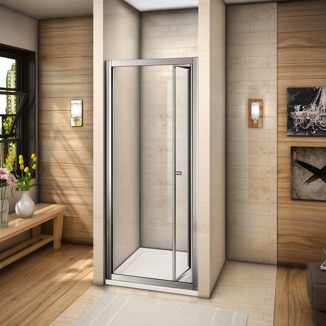 Mamparas de baño plegable puerta de ducha vidrio templado 100x185cm: Amazon.es: Bricolaje y herramientas