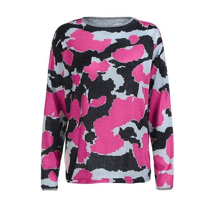Mujer y Niña otoño fashion fiesta,Sonnena ❤ Camisas de moda impresas Camuflaje de mujer elegante camiseta de manga larga casual suelta Blusa Tops ...