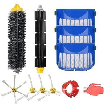 Amoy Kit de cepillos y filtros para iRobot Roomba 600 Serie 650 6530 620 615 605 Robot aspiradora Repuestos