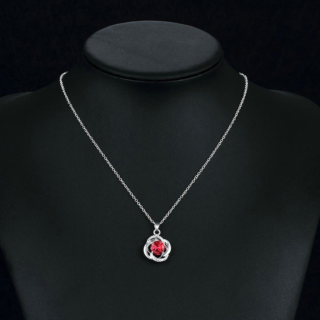 KnSam Women Gold Plate Chain Necklaces Hollow Flower Pendant Red Crystal Novelty Necklace