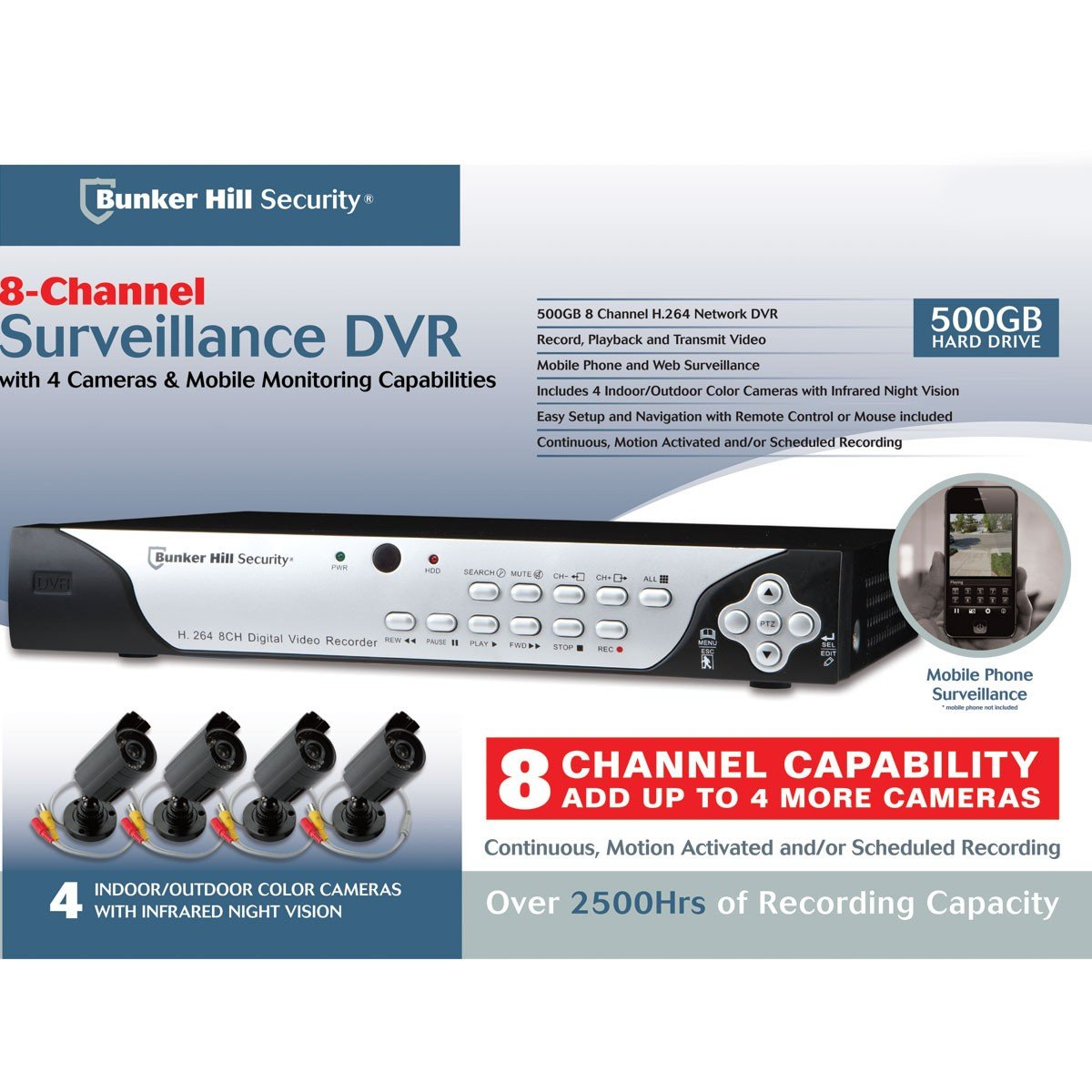 71kX6GJ4sHL._SL1200_ amazon com 8 channel surveillance dvr with 4 cameras and mobile  at gsmportal.co
