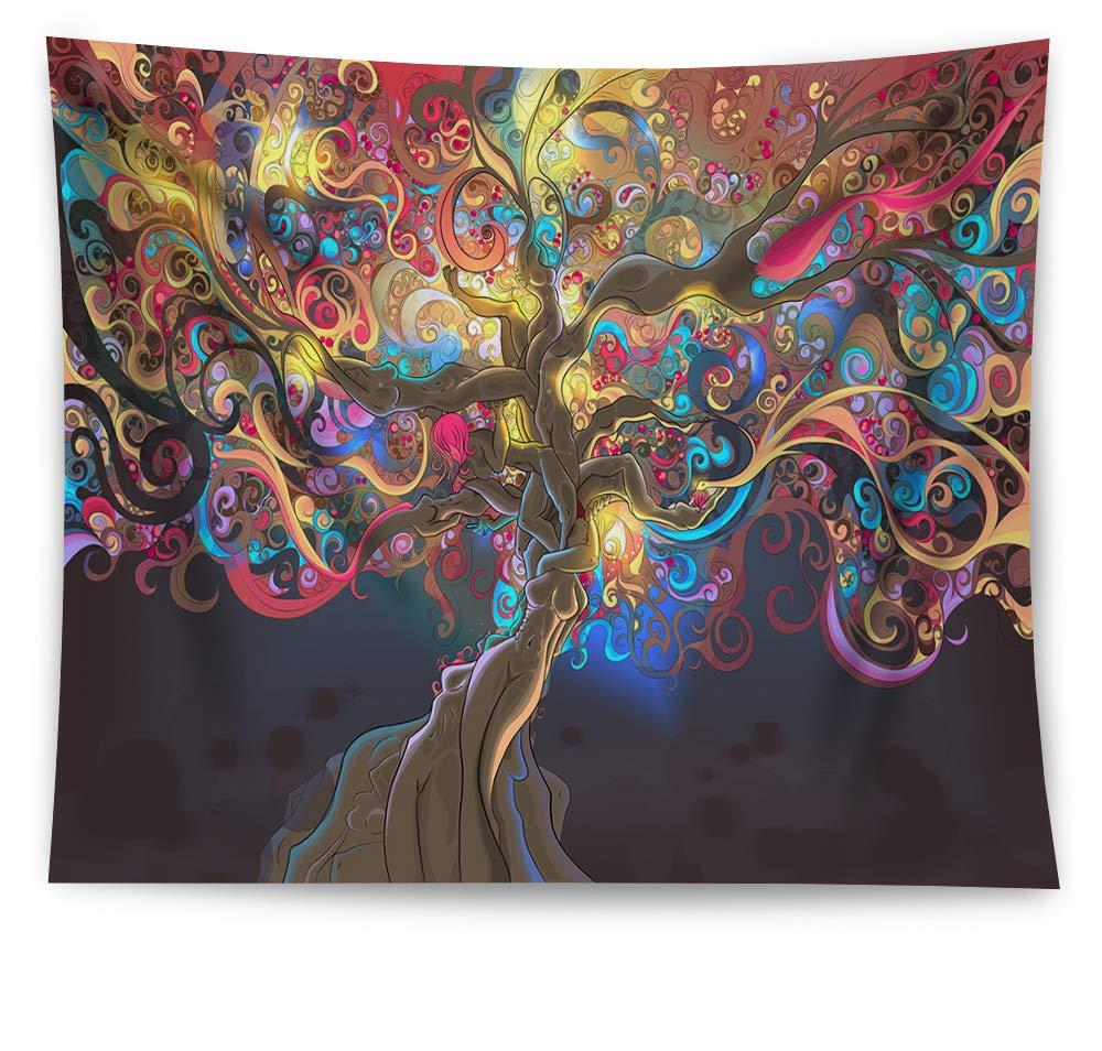 HAOCOO treetapestry、2018抽象油彩ウォールアートボーホーヒッピーWall Hangingタペストリーホームインテリア寮の寝室リビングルームアパート 51x60 2018051011 B07CZHBB5F  Dream Tree 51x60