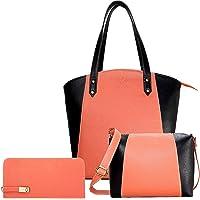 Fargo Motley PU Leather Women's Handbag With Sling Bag And Hand Clutch Combo Of 3 (Peach_FGO-164)