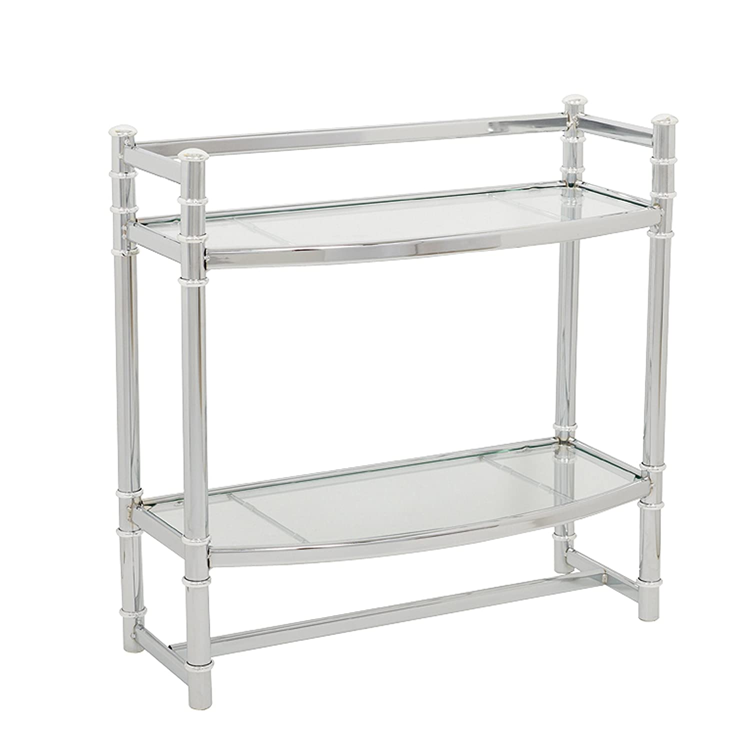 Zenna Home 9012SS, 2-Tier Wall Mount Bathroom Shelf, Chrome/Glass