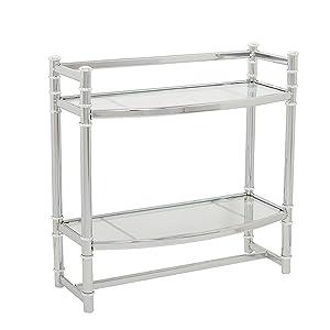 Zenna Home 9012SS,2-Tier Wall Mount Bathroom Shelf, Chrome/Glass