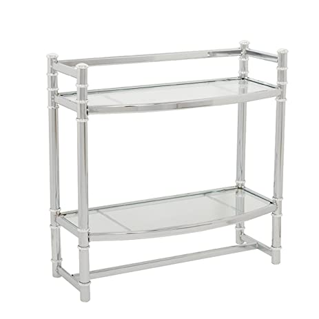 Zenna Home 9012SS, 2 Tier Wall Mount Bathroom Shelf, Chrome/Glass