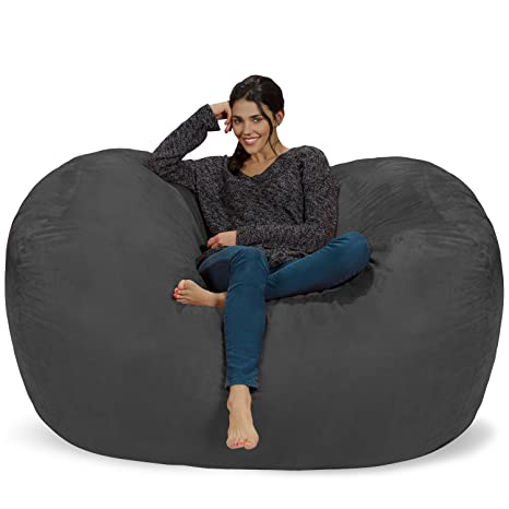Swell Chill Sack Bean Bag Chair Huge 6 Memory Foam Furniture Bag And Large Lounger Big Sofa With Soft Micro Fiber Cover Charcoal Inzonedesignstudio Interior Chair Design Inzonedesignstudiocom