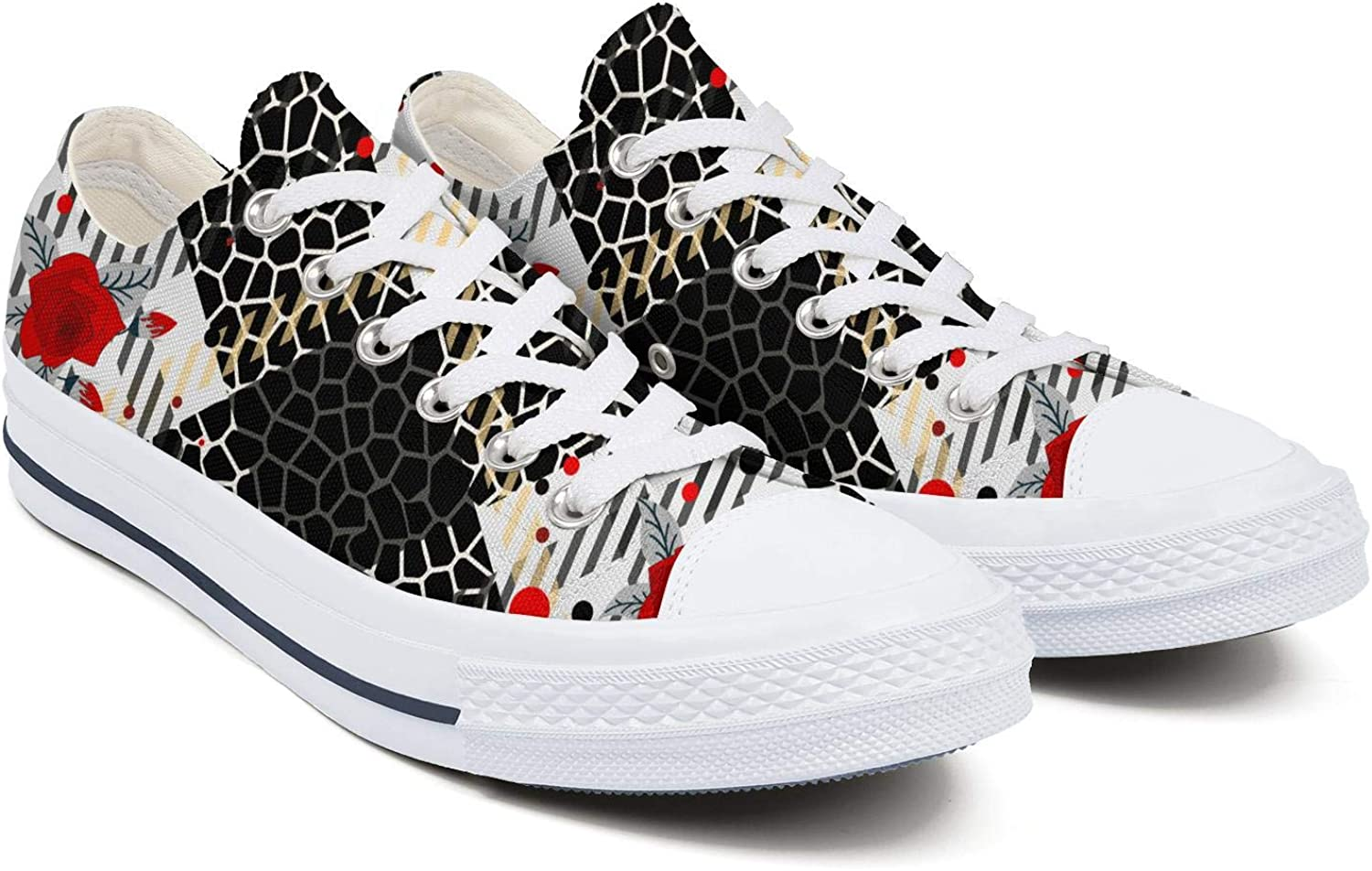 Womens Ladies Ethnic Striped African Zebra Skin Leopard Skin Casual Shoes Sneakers Comfortable and Lightweight Canvas Low Top Sneaker Classic Shoe