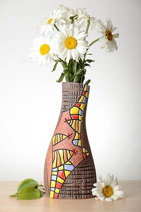 Amazon.com & Amazon.com: Decorative Flower Vase Handmade Ceramic Vase Clay Vase ...