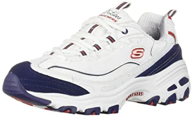 Skechers Women's D'Lites Sneaker White Navy red 6 M US
