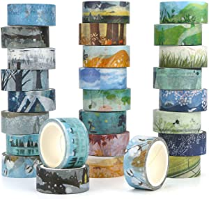 Washi Masking Tape Set of 24,Decorative Masking Tape Collection,Four Seasons Patterns for DIY Crafts,Gift Wrapping,Christmas Party Supplies (Mix)