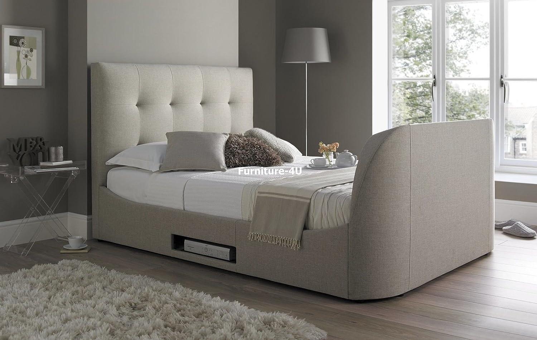 Walkworth 5 ft King Size TV-Bett Rahmen in Oatmeal Fabric by Kaydian ...