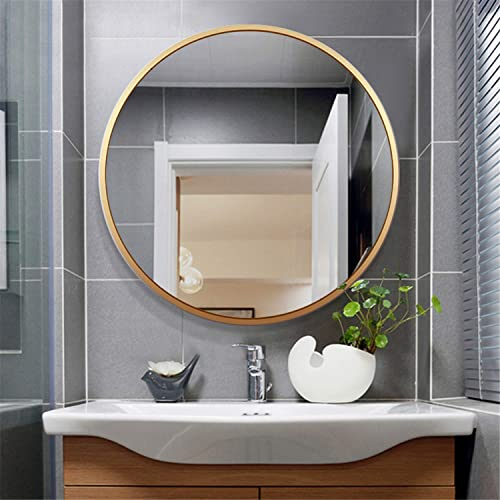 Leafmirror Round Wall Mirror Circle Metal Frame Large Vanity Hanging Decorative Mirrors for Entryway Living Room Bedroom Bathroom Home Modern Dark Gold, 32in