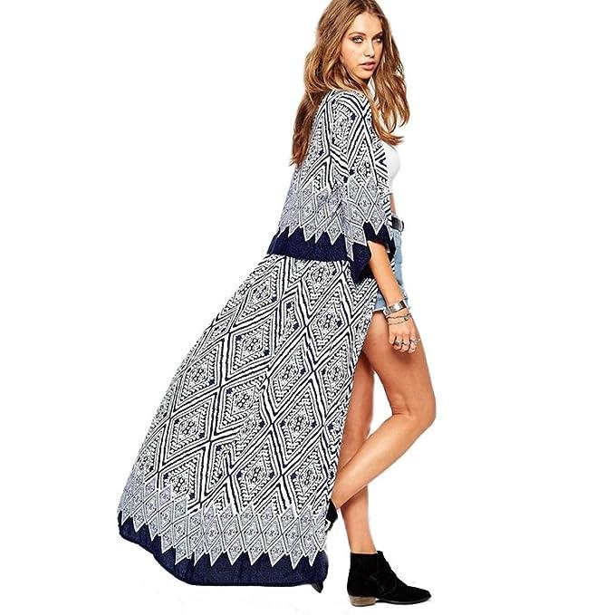 c11b57f97 DEELIN Las Mujeres Largas De Moda Bohemio Impreso Gasa Chal Flojo Kimono  Cardigan Top Camisa De